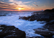 Maine Sunset Framed Prints - Schoodic Seas Framed Print by Patrick Downey