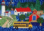 Bus Tapestries - Textiles Framed Prints - School Bus Framed Print by Jean Baardsen