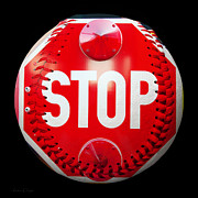 Stop Sign Mixed Media Prints - School Bus Stop Sign Baseball Square Print by Andee Photography