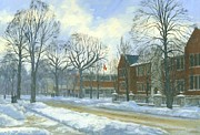 Winter Scene Paintings - School Days by Michael Swanson