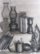 Oil Lamp Drawings Prints - School Days Print by Valerie Summers