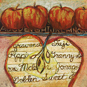 Acrylic Art Painting Prints - School of Apples Print by Jen Norton