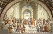 Greek School Of Art Painting Prints - School of Athens Print by Raphael