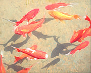 Koi Digital Art - School of Fish by Jeanne A Martin