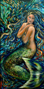 Underwater Diva Paintings - School of Minnows by Linda Olsen
