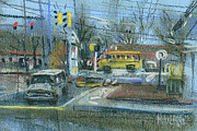Traffic Pastels Prints - Schoolbus Print by Donald Maier