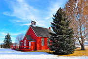 Red School House Framed Prints - Schoolhouse Framed Print by Birches Photography