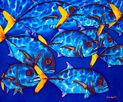 Tropical Art Tapestries - Textiles Prints - Schooling  jack fish Print by Daniel Jean-Baptiste