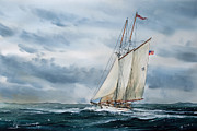 Maritime Greeting Card Prints - Schooner Adventuress Print by James Williamson