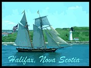 Halifax Police Posters - Schooner and Lighthouse Poster by John Malone