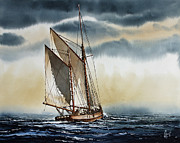 Maritime Greeting Card Painting Originals - Schooner by James Williamson