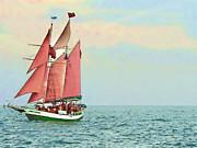 Schooner Jolly Rover Key West Print by Joan  Minchak