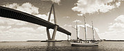 Charters Posters - Schooner Pride and Cooper River Bridge Poster by Dustin K Ryan