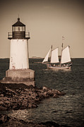 Lighthouse Art - Schooner sailing into harbor by Jeff Folger