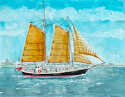 Tall Ship Drawings Prints - Schooner Spirit of Independence Print by V E Delnore