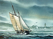 Nautical Print Posters - Schooner Voyager Poster by James Williamson