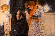 Pointillist Prints - Schubert Teaching  - after Klimt Print by Don Perino