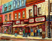 Schwartzs Hebrew Delicatessen Framed Prints - Schwartz The Musical Painting By Carole Spandau Montreal Streetscene Artist Framed Print by Carole Spandau