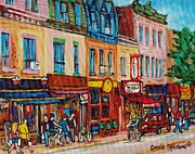 Montreal Cityscenes Paintings - Schwartzs Deli And Warshaw Fruit Store Montreal Landmarks On St Lawrence Street  by Carole Spandau
