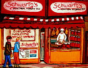 The Main Montreal Paintings - Schwartzs  Deli  Montreal Landmarks by Carole Spandau