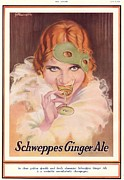 Thirties Drawings Posters - Schweppes 1930s Uk  Ginger Ale Art Deco Poster by The Advertising Archives