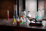 Bottles Posters - Science - Chemist - Chemistry Equipment  Poster by Mike Savad