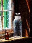 Stopper Posters - Science - Reagent Bottle and Small Brown Bottle Poster by Susan Savad