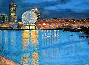 British Columbia Pastels - Science World Twilight by Brenda Salamone