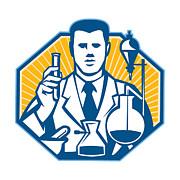 Scientist Lab Researcher Chemist Retro Print by Aloysius Patrimonio