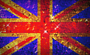 Sequin Digital Art Framed Prints - Scintillating UK Flag Framed Print by Kitty Bitty
