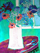 Table Cloth Mixed Media Posters - Scissors Poster by Diane Fine
