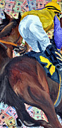 Kentucky Derby Mixed Media Prints - Scito Downs Print by Michael Lee