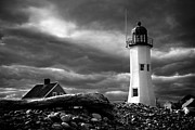 New England Lighthouse Digital Art - Scituate lighthouse under a stormy sky by Jeff Folger