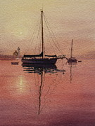 Yellow Sailboats Originals - Scituate Serenity by Karol Wyckoff