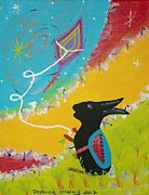 Kids Flying Kite Paintings - Scooter Flying His Kite by Roxanne McKay