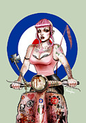 Oi Prints - Scooter Girl Art Print Print by Screaming Demons
