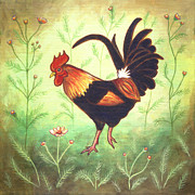 Rooster Metal Prints - Scooter the Rooster Metal Print by Linda Mears