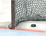 Hockey Drawings Framed Prints - Score Framed Print by Troy Levesque