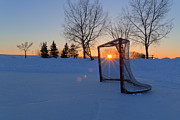 Hockey Net Posters - Scoring the Sunset Poster by Darcy Michaelchuk