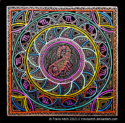 Vibrant Colors Drawings Prints - Scorpio Mandala Print by Travis Hunt