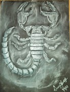 Bug Pastels Framed Prints - Scorpion and Smoke Framed Print by George Jewell