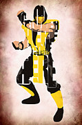 Video Game Art Prints - Scorpion - Mortal KOmbat Print by Ayse T Werner