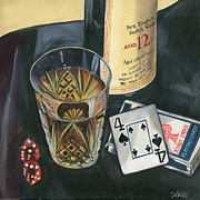 Playing Painting Prints - Scotch and Cigars 2 Print by Debbie DeWitt