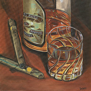 Smoking Painting Posters - Scotch and Cigars 3 Poster by Debbie DeWitt