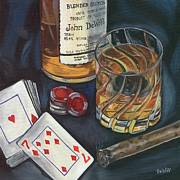 Playing Cards Painting Posters - Scotch and Cigars 4 Poster by Debbie DeWitt
