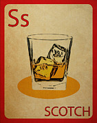 Highball Framed Prints - Scotch Vintage Flashcard Framed Print by Mynameisjz JZ