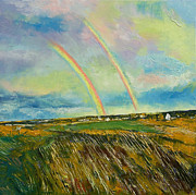 Double Rainbow Posters - Scotland Double Rainbow Poster by Michael Creese