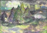 Castle Mixed Media Originals - Scotland by Jillian Goldberg