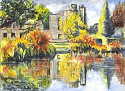 Ruins Drawings Metal Prints - Scotney Castle Ruins Kent England Metal Print by Carol Wisniewski