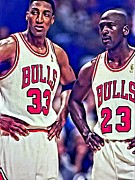 Chicago Bulls Posters - Scottie and Michael Poster by Florian Rodarte